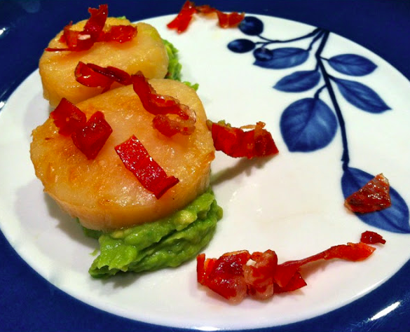 Scallops with Crispy Pancetta and Avocado-Wasabi Creme