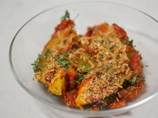 Breaded Lemon-Coriander Acorn Squash with Marinara Sauce