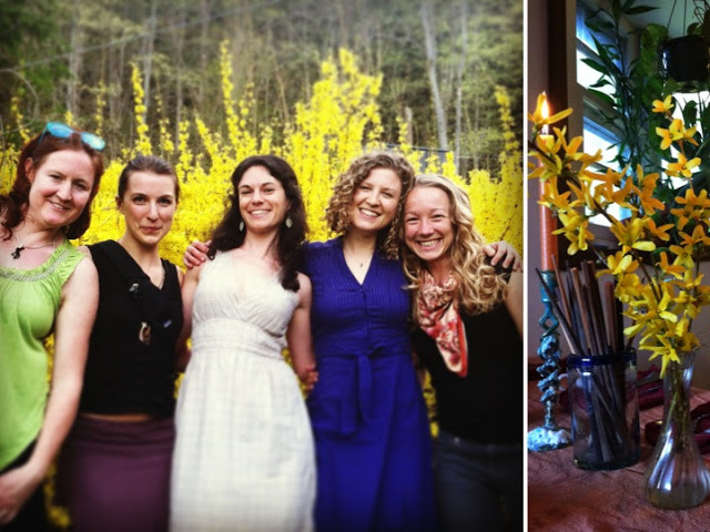Left: My group of goddesses Kara, Tess, Shoshi, and Sara. Right: Fresh table settings. (Photography: Emma Frisch)