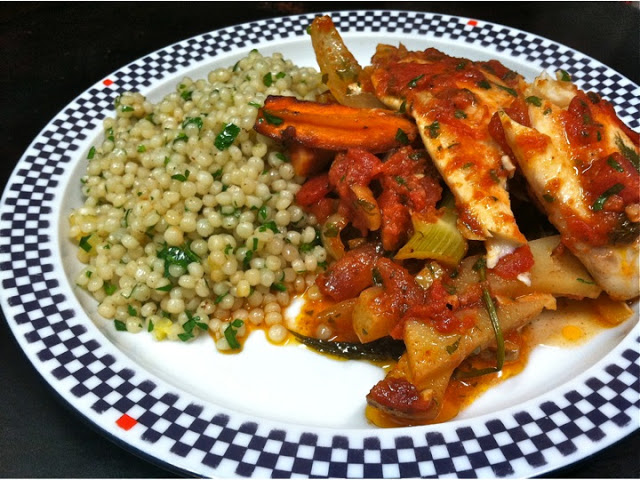 Red Chermoula Tilapia with Carrots & Fennel, Israeli Couscous with Browned Butter & Preserved Lemons