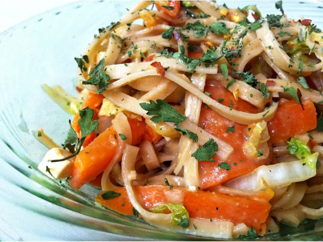 Egg Noodles with Vegetables and Incredible Vietnamese Peanut Sauce