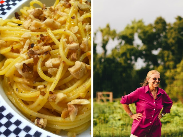 Zucca Spaghetti with Toasted Walnuts, and Simple Garlic Greens