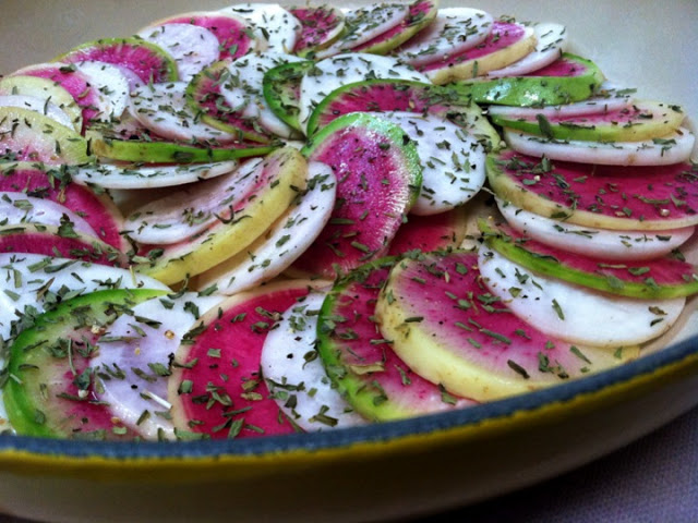 Tarragon, Turnip and Watermelon Radish Gratin