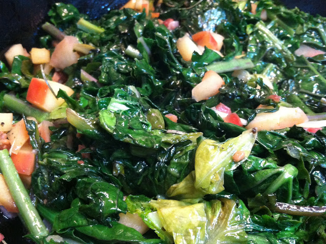 Braised Apples and Winter Greens with Bacon