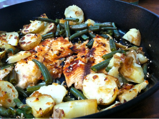 Charbroiled Tilapia in Vietnamese Sesame Sauce, with Potatoes and Green Beans