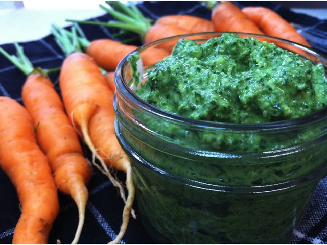 Carrot Top Pesto (with bonus recipe)