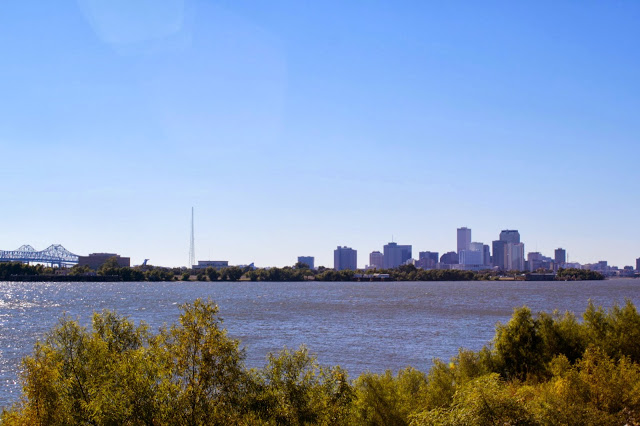 A view of NOLA from the levy on the banks of the Mississippi in the 9th Ward, where Hurricane Katrina caused the most damage.