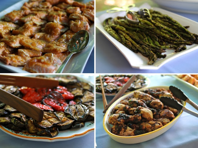 Left to right, clockwise: baked salmon with apricot-soy sauce (recipe), grilled asparagus, grilled eggplant and peppers, grilled chicken wings with mustard-thyme marinade.