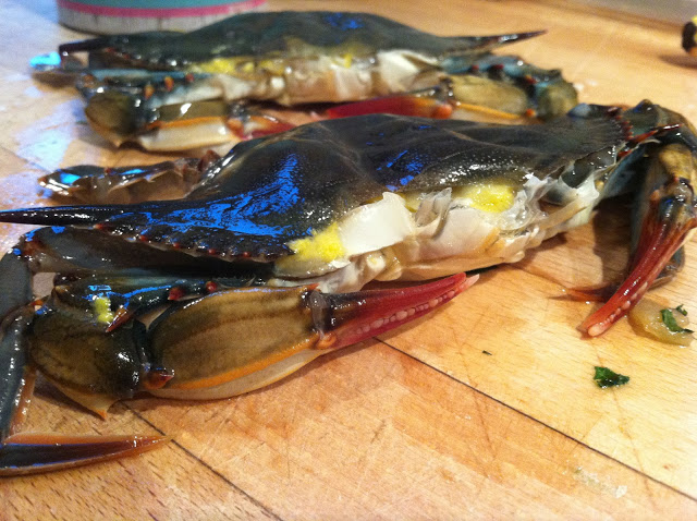Buttered Softshell Crabs, with Mint & Pine Nut Sunchokes