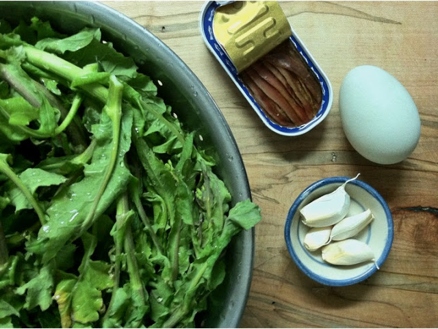 Broccoli Rabe in Anchovy-Garlic Sauce, with Sunny Duck Egg