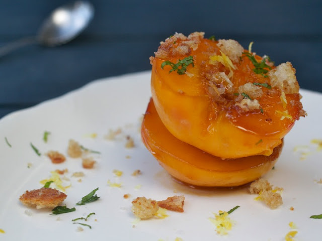 Poached Maple Caramel Peaches, with Olive Oil Bread Crumbs and Coarse Sea Salt