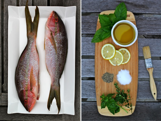 Grilled Red Snapper stuffed with Lemon & Summer Herbs