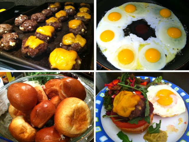Farideh's Kiwi-Burgers (not made of Kiwi's, but iconic of New Zealand). Lamb patties, fried egg, beets. ZING!