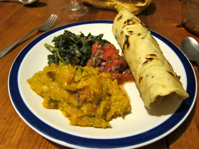 Jamaican Reggae Feast: Pumpkin Curry, Garlic Callaloo and Watermelon Salsa with Roti