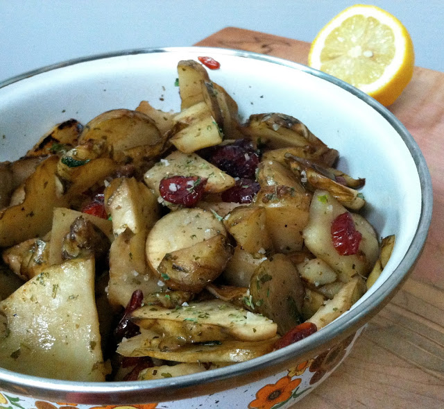 Roasted Sunchokes with Cranberry & Mint