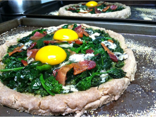 Mustard Greens, Blue Cheese, Bacon and Baked Egg Pizza