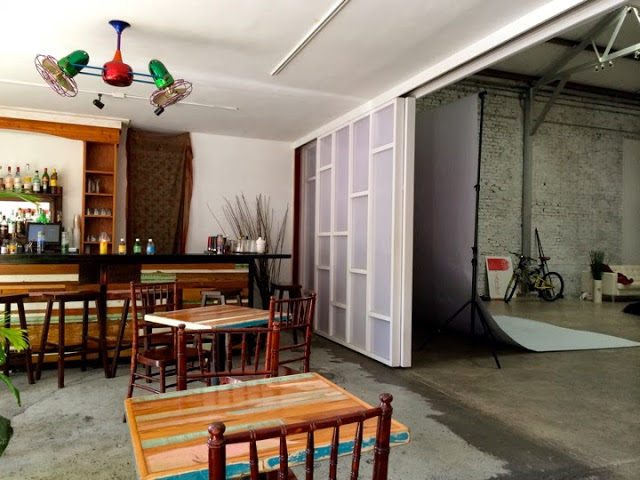 Part of Carmo's opens up to a warehouse-style photo studio.
