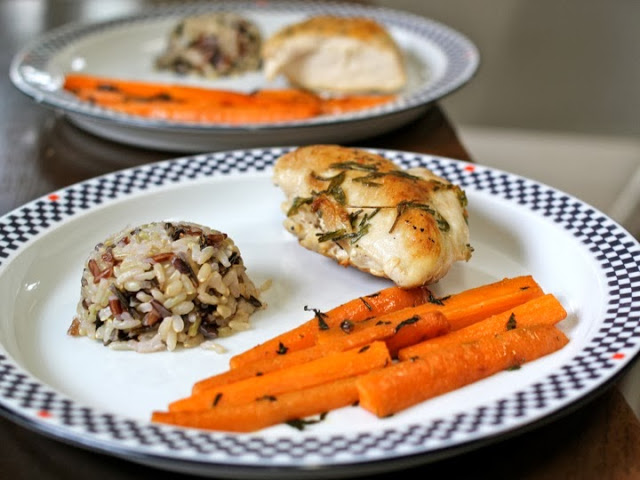 A gorgeous, balanced and nutritious meal: Lemon-Garlic Roasted Chicken Breast, Wild Rice and Glazed Carrots.