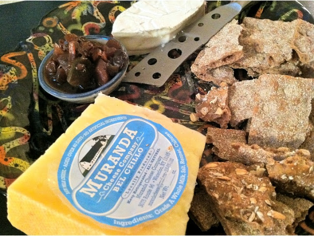 An array of local cheese, including a luxurious lavender cheese! With Mamma's green-tomato chutney and Wasa multi-grain crackers.