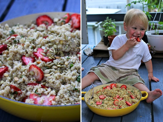 And, Liam LOVES this dish (or at least the strawberries). Photo credit: My friend Ethan, who can wield my camera like magic.