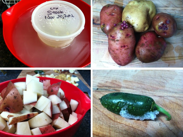 You can use a variety of potatoes - whatever you have on hand. Frozen jalapeno from this summer: mince and add to the pot while frozen.