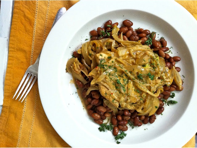 Swordfish and Pinto Beans in Coconut Red Curry Sauce