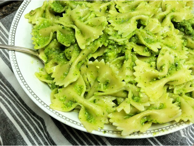 Bryan Sobel's earthy, zingy wild ramp pesto pasta. He foraged wild ramps (a garlic-like wild onion) on a nearby trail for this dish.
