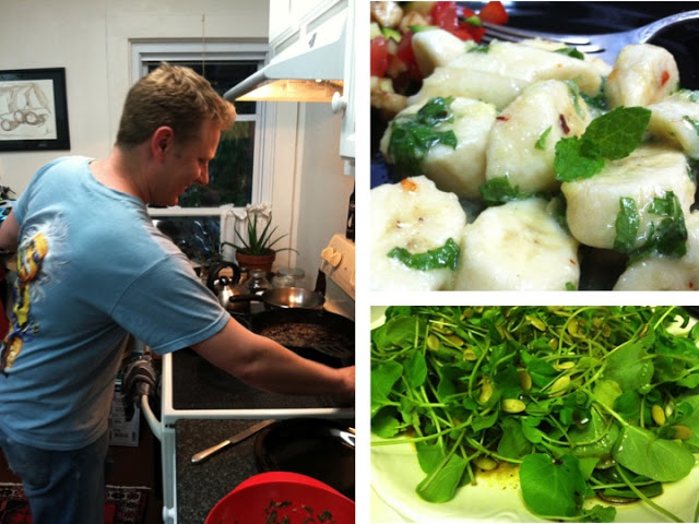 Bjorn tending to the fish. Banana salad up close, and watercress salad below.