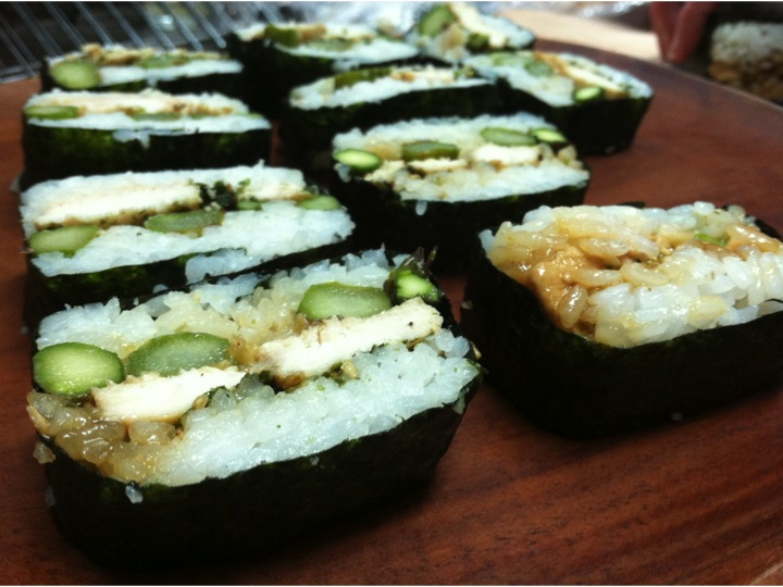 Alice's famous teriyaki chicken and asparagus musubi!