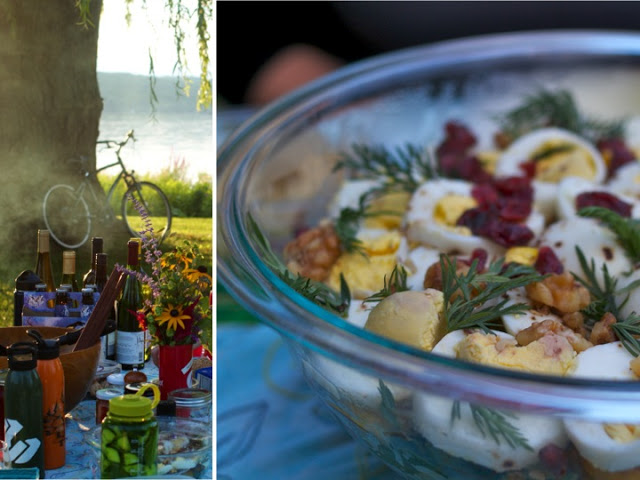 Hannah's divine salad, crafted from the vegetables she grew and the eggs she collected at the Ithaca Beer Company farm.