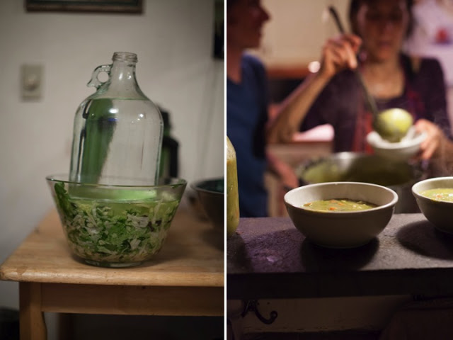 """Left: One of Priscilla's famous """"pressed raw salads."""" Right: A warming soup, to start every meal. (Recipes in The Great Life Cookbook)"""