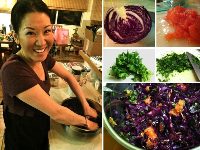 Jen gets purple with the cabbage. Warning: hands may be tie-dyed for days.