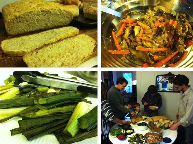Keith's famous sourdough. Curry-sesame roasted vegetables. Roasted leeks. A line to dig into the baked ziti.