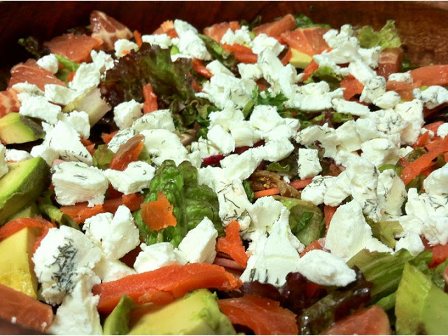 Another of Shoshi's super salads: fresh winter greens, tomato, avocado, smoke salmon, grated beet, herbed goat cheese, and a secret vinaigrette.