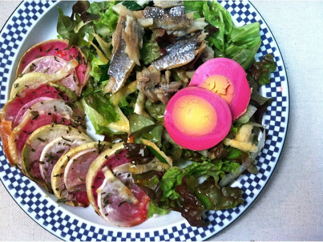 Served with a simple salad, topped with smoked herring and Shoshi's Famous Pickled Eggs