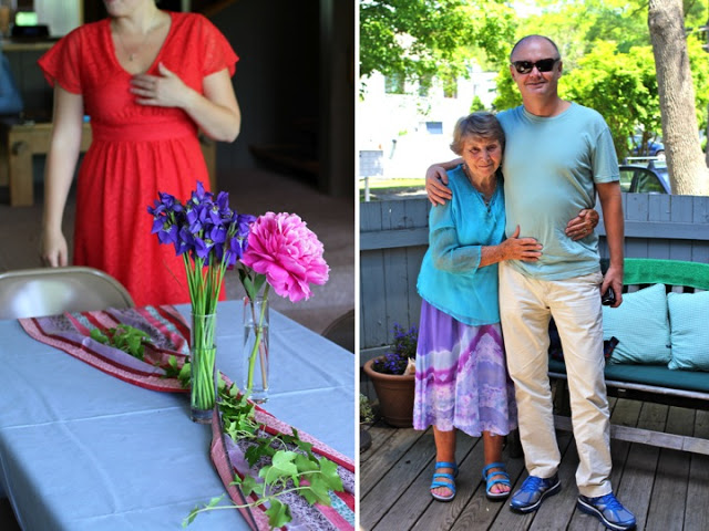 Right: Francesca, event planner and manager for Tim Labant Events, made the room look gorgeous with fresh flowers from Mamma's garden and shawls from Nonna's friend Ismael in India (which Mamma imports and sells in CT). Left: Nonna with my uncle Roger, her youngest son.