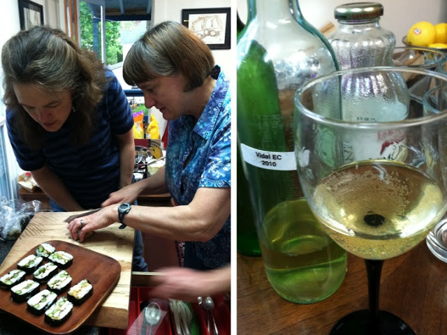 Alice shows Magdalen how to make musubi. Keith's homemade white. Crisp with a trace of sweet.