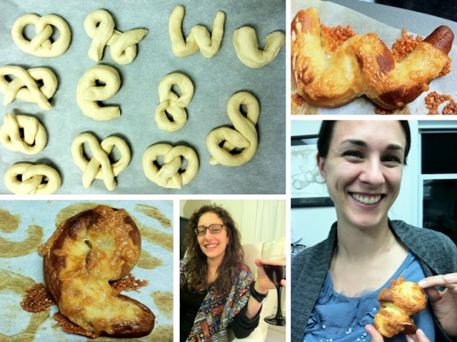 """Can you find the letter pretzels: Wendy, Virginia (an abstract """"V""""), Stef, Siobhan, Lauren and Emma."""