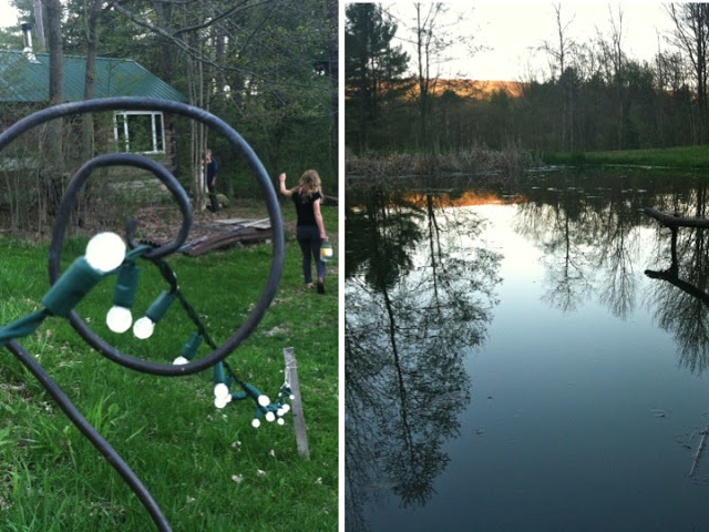 Left: Gliding down to the sauna with my friend Sara, who lives across the street from Lewis and Priscilla. Right: The natural spring pond. (Photography: Emma Frisch)