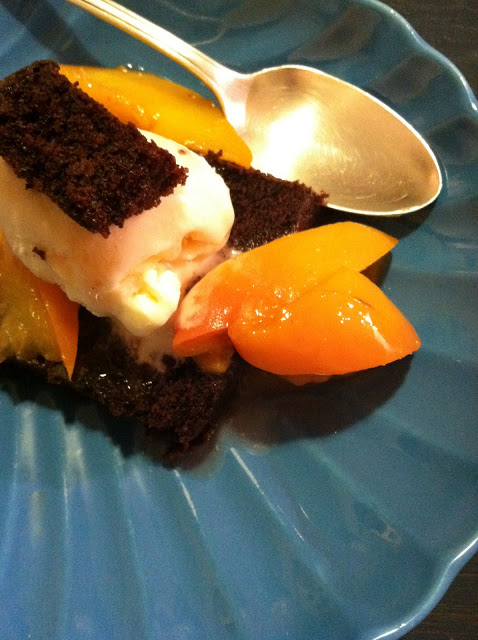 Glazed Peaches over Chocolate Cake, Vanilla Bean Ice Cream