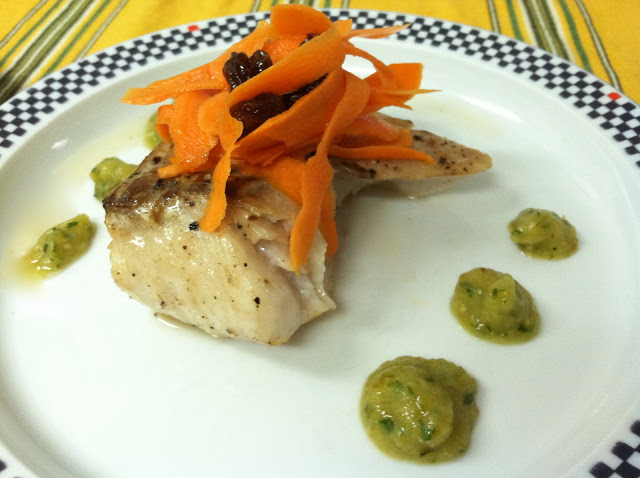 Pollock with Roasted Tomatillo Salsa and a Tangy Carrot-Raisin Salad