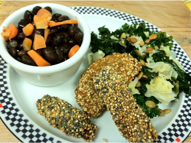 Birdseed Fries; Black Beans & Pickled Carrots; Roasted Pumpkin Seed and Agave Slaw