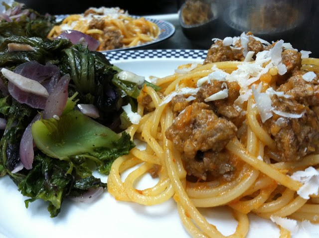 Pasta with Roasted Tomato & Pepper Ragu, side of Mustard Greens