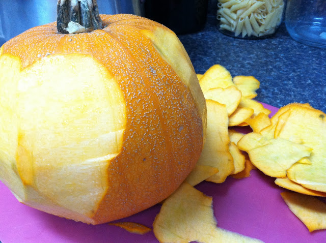 Peel the pumpkin.