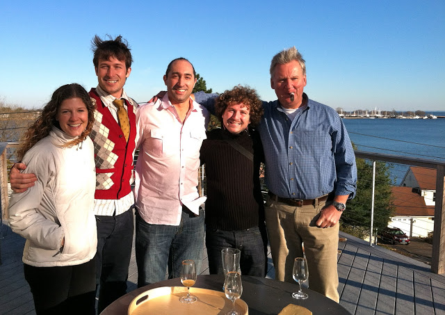 Starters on the roof. 60s and sunny with an emerald Long Island Sound. From left: Dimity, Nolan, John (my sister Francesca's love, Alessio (A visitor from Italy), and my (wicked Stepfather) Peter.