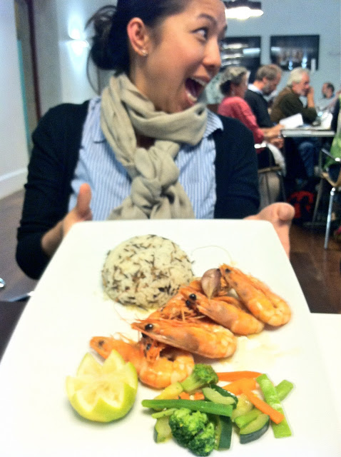 My Lo and her Shrimp! A simple side of steamed, seasonal vegetables and wild rice.