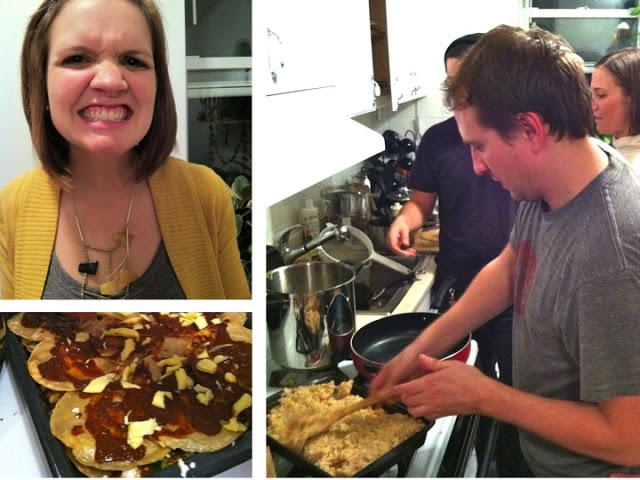 Elspeth, queen of foodalicious faces; tortillas smeared with red sauce and queso fresco; Keith preparing the rice.