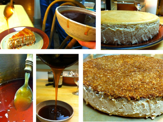 A masterpiece. Apple pie cheesecake with a pecan-oat crust, and apple cider (reduced over 6 hours).