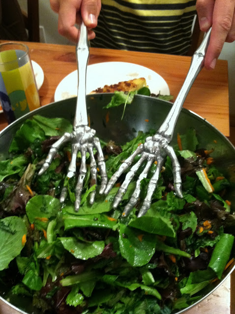 Mia, Shanti's roommate, picked up the funkiest salad serving utensils!
