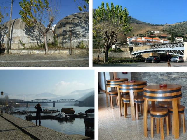 Clockwise: Old wine cisterns for fermenting right at the port. Pinhão. The serene harbor, a cross-section of two rivers. Clever use of wine barrels.
